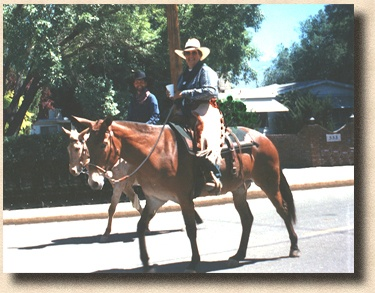 Patrick, Ima Mary and Hank in the Bishop Mule Days Parade